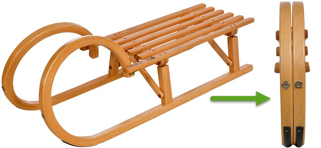 Colint Hörnerrodel Faltschlitten klappbarer Holzschlitten