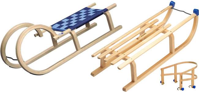Hörnerrodel und Davos Holzschlitten mit Lehne