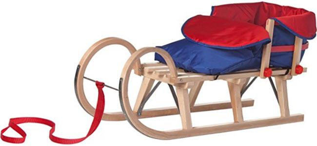 Impag Hörner-Schlitten Hörnerrodel mit Rückenlehne & Fußsack