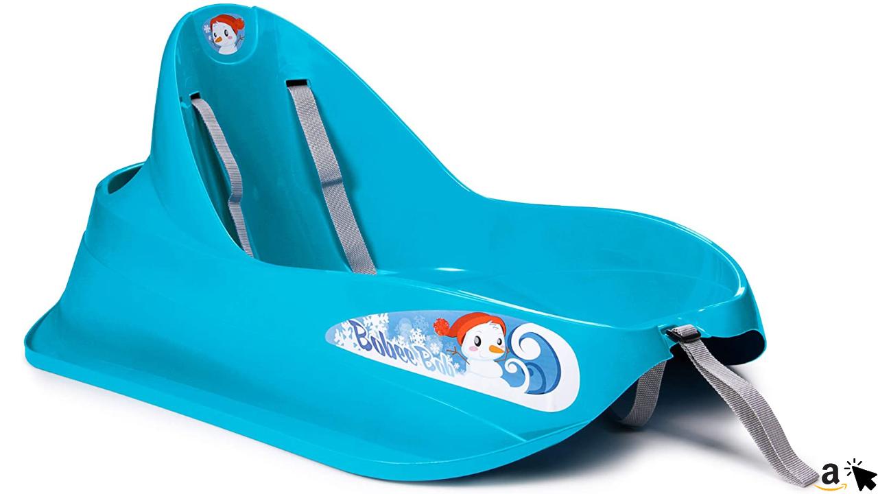 Ondis24 Schlitten Bob für Kleinkinder Baby blau Rodel mit Sicherheitsgurt Rutscher mit Zuggurt und Staufach, für Kinder bis 3 Jahre