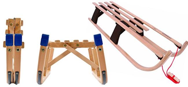 RPL Holz-Klappschlitten und HAMAX Klappbarer Holz-Metall Davos Schlitten