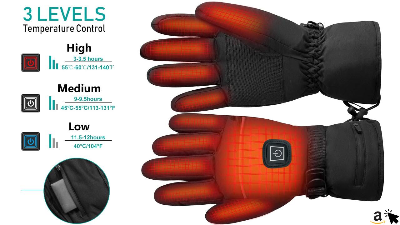 1 Paar Winterwarmhandschuhe Winter Skifahren Elektrische Beheizte Handschuhe