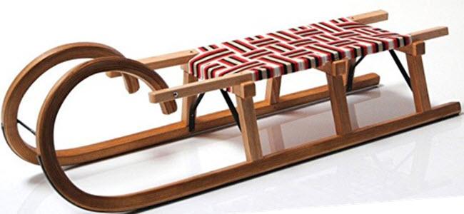 Hörnerrodel Hörner-Holzschlitten Esche Gurtsitz
