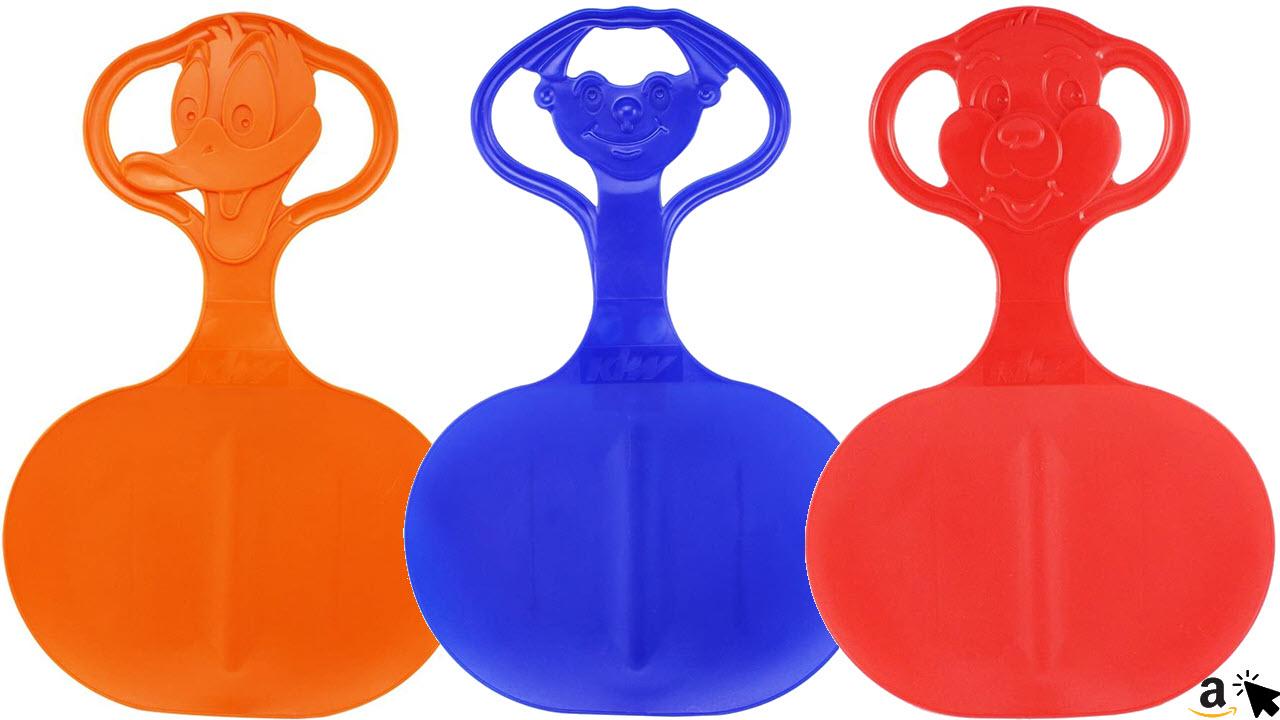 com-four 3X Schneeflitzer Schneerutscher Rutschteller Schlitten mit Motiv im Griff in verschiedenen frischen Farben